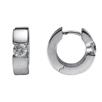 Silver Huggie Cubic Zirconia Earrings
