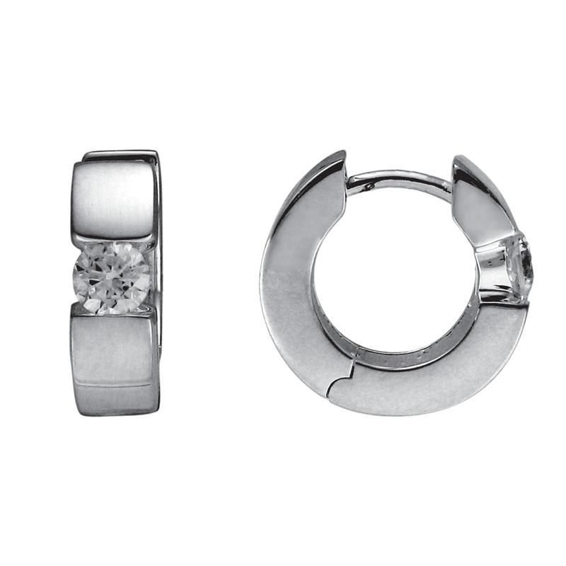 Ashley Silver Huggie Cubic Zirconia Earrings