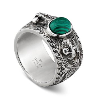 Garden Sterling Silver Tiger Head & Green Accent Band Ring
