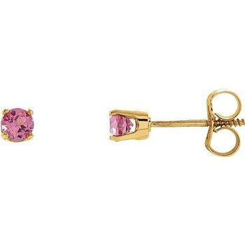 Children's Earrings - Imitation Pink Tourmaline October Birthstone