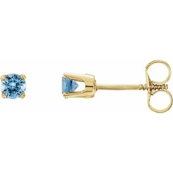 Children's Earrings - Imitation Aquamarine March Birthstone