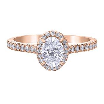 .76 Carat Oval Cut Diamond Halo Engagement Ring