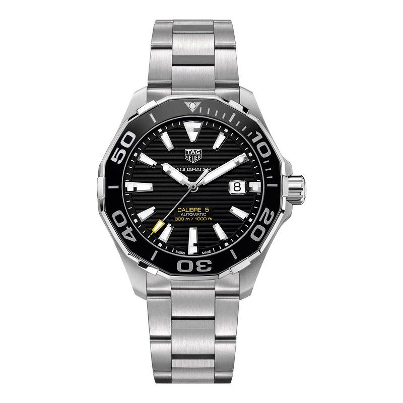 TAG Heuer Aquaracer Calibre 5 automatic watch 43mm Black dial, ceramic bezel, bracelet