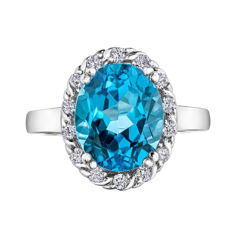 Ashley Blue Topaz & Diamond Ring