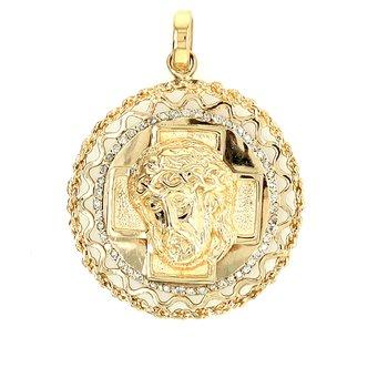 Estate 43 mm  Diamond Set  14kt Gold Religious Medalion