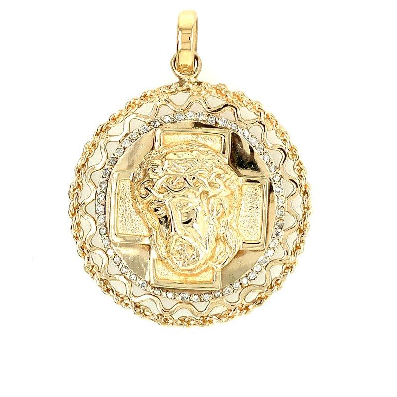Ashley Estate 43 mm  Diamond Set  14kt Gold Religious Medalion