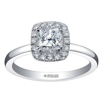 .65 Carat  Cushion Cut Halo 14kt Engagement Ring