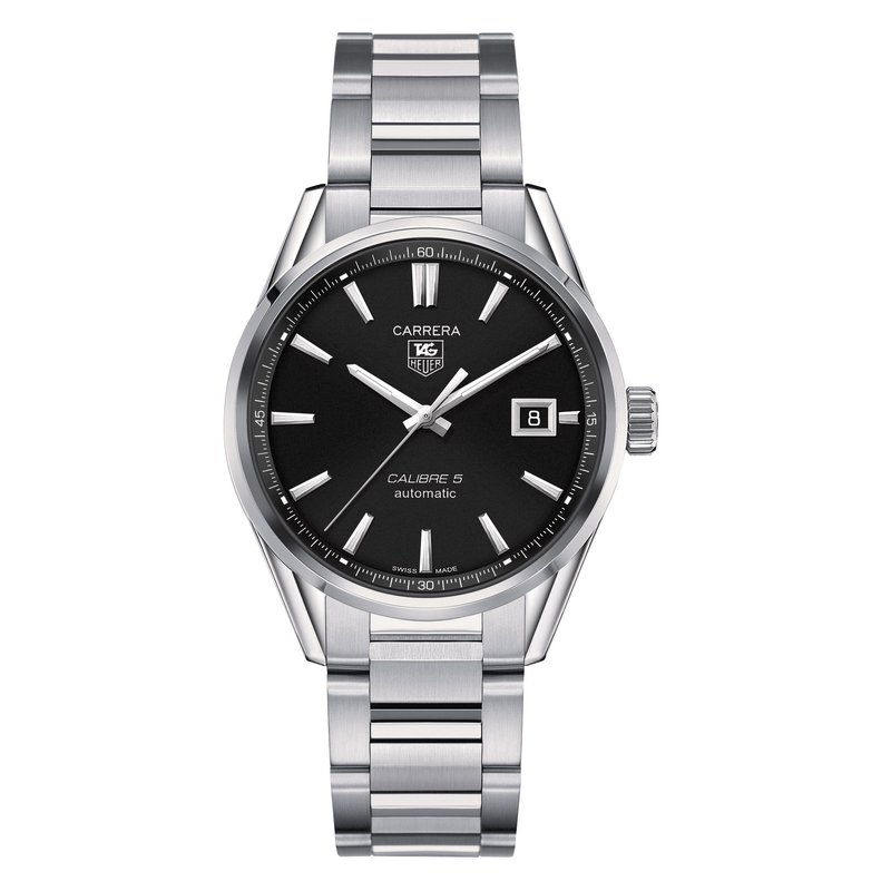 TAG Heuer Carrera 39mm Calibre 5 automatic watch Black dial, steel bracelet