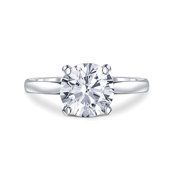 White Gold 2.20 Carat Solitaire Diamond Engagement Ring with Accent Diamonds