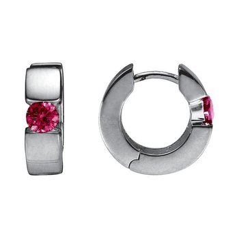 Silver Huggie Rhodolite Garnet Earrings