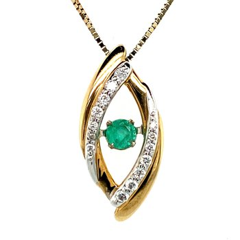 Emerald & Diamond Pulse Necklace
