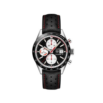 Carrera 41mm Calibre 16 automatic chronograph Black dial and ceramic bezel, black leather strap with red stitching