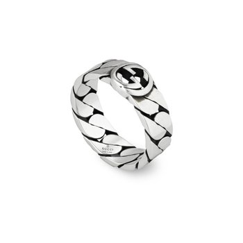 Interlocking G Sterling Silver 6mm Ring YBC661513001 Size 9