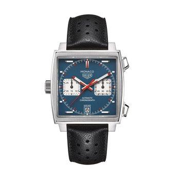 Monaco Calibre 11 Automatic Square Chronograph 39mm Steel case, blue dial, black leather strap