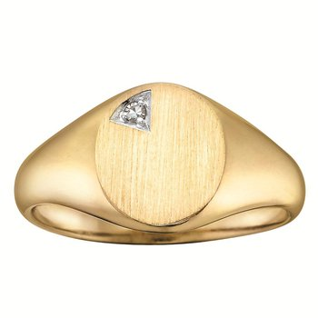 Gent's solid back diamond set signet ring.