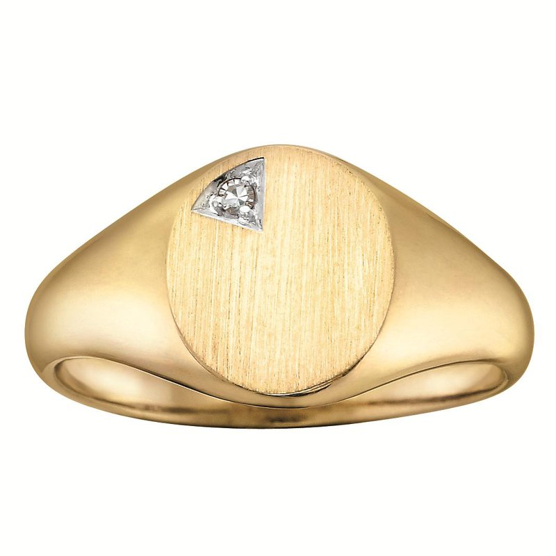 Ashley Gent's solid back diamond set signet ring.