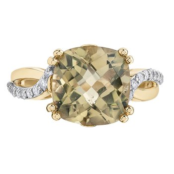 Olive Quartz & Diamond Ring