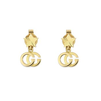 18kt. Yellow Gold GG Running Star Drop Earrings