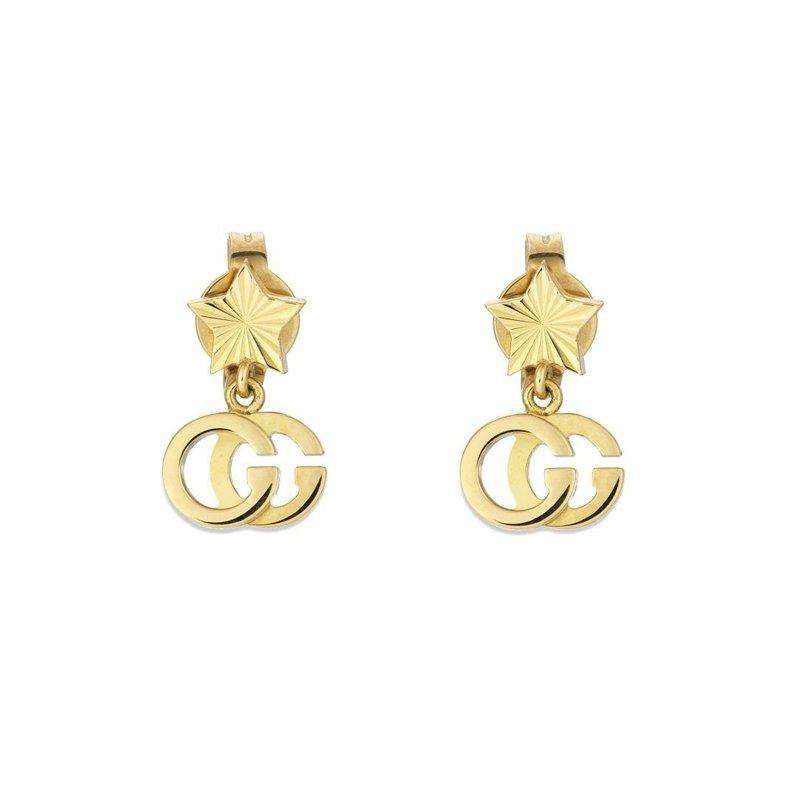 Gucci 18kt. Yellow Gold GG Running Star Drop Earrings