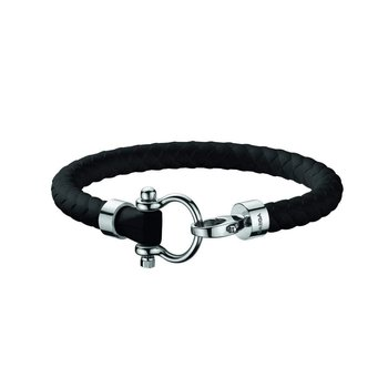 Sailing Bracelet in stainless steel and black rubber  B34STA0509702