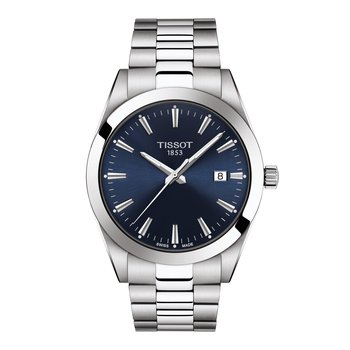 T127.410.11.041.00  TISSOT GENTLEMAN POLISHED AND SATINATED HOUR MARKERS Ultra-thin second hand for precision Hour and minutes hands Date window Fold over steel clasp with safety push-buttons