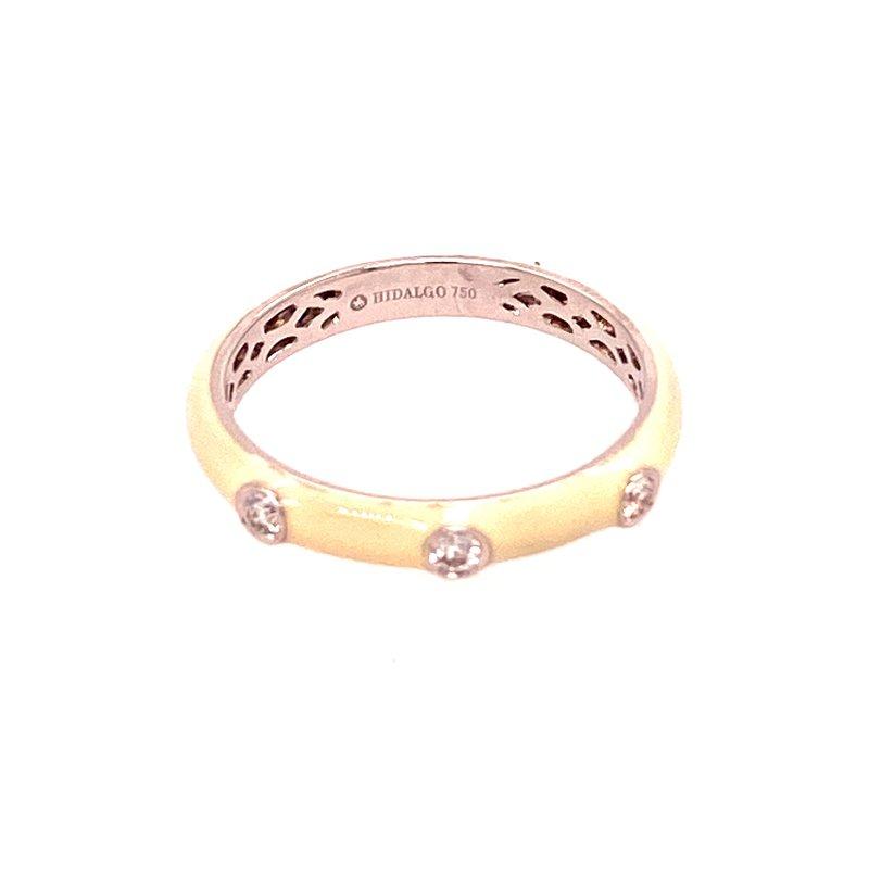 Ashley White Enamel Diamond Ring