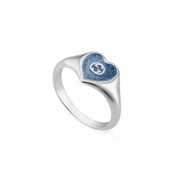 Ring with Interlocking G Blue Enamel Heart