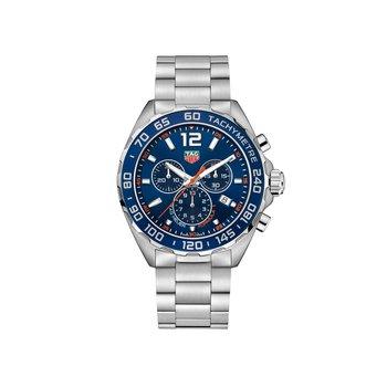 Formula 1 43mm chronograph, blue dial, blue aluminum bezel, steel bracelet