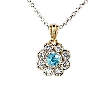 Aquamarine And Diamond Necklace