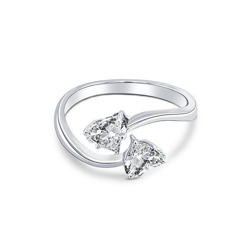 Ashley Double Heart Ladies Engagement Ring
