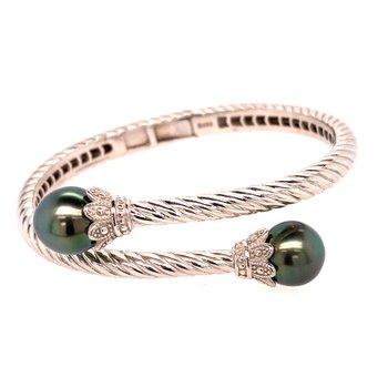 Sterling Silver & Tahitian Pearl Bracelet