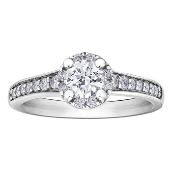 14k White Gold Halo Diamond Engagement Riing