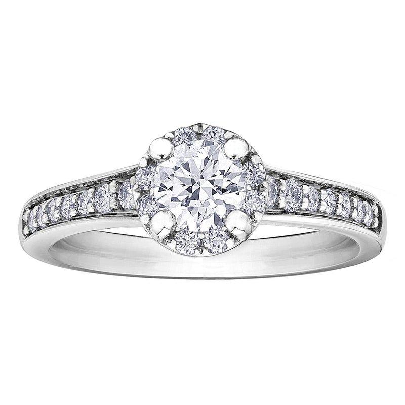 I Am Canadian 14k White Gold Halo Diamond Engagement Riing