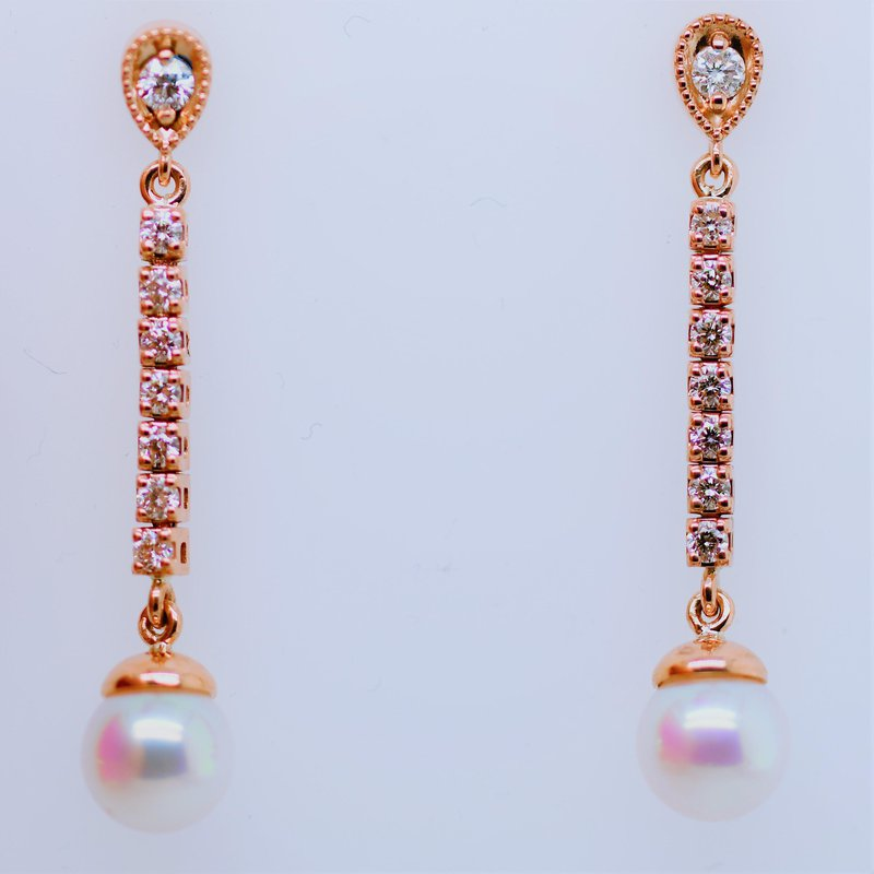 Ashley Pearl and Diamond Drop Earrings
