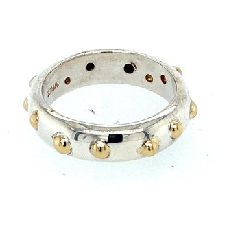 Ladies Sterling Silver & Yellow Gold Ring