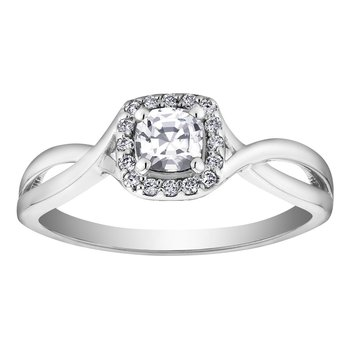 White Zircon & Diamond Ring