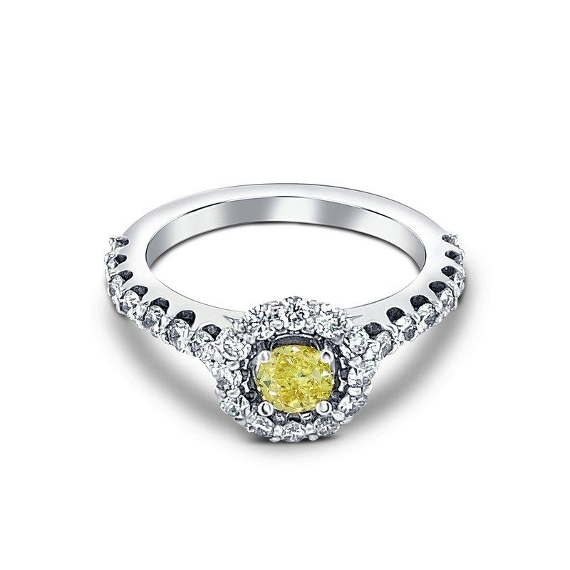 Ashley 14k White Gold Green Diamond Halo Engagement Ring