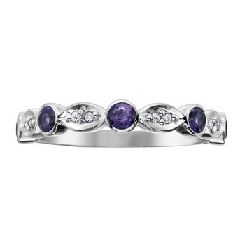 Amethyst & Diamond Stackable Ring