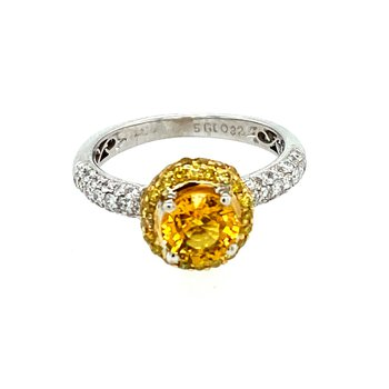 Ladies Yellow Sapphire & Diamond Ring