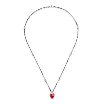 Necklace with Interlocking G Red Enamel Heart