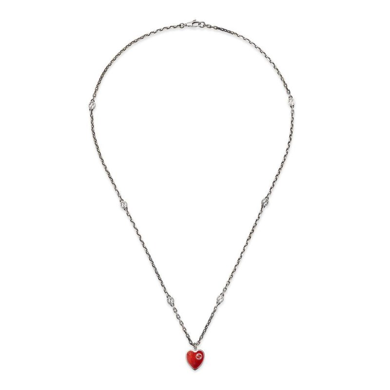 Gucci Necklace with Interlocking G Red Enamel Heart