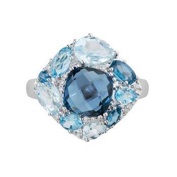 Multi Coulour Blue Topaz & Diamond Ring