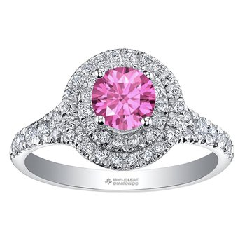 Ladies Pink Sapphire & Diamond Ring