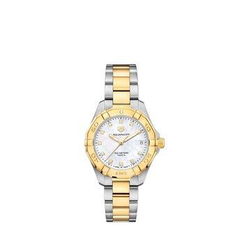 Aquaracer Quartz Watch 32mm Plated YG bezel, white MOP diamond dial, steel & YG plated bracelet
