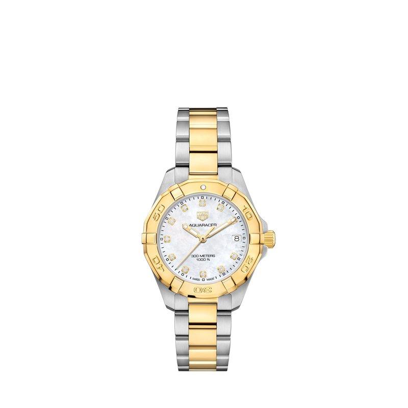 TAG Heuer Aquaracer Quartz Watch 32mm Plated YG bezel, white MOP diamond dial, steel & YG plated bracelet