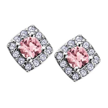 Pink Tourmaline Stud Earrings
