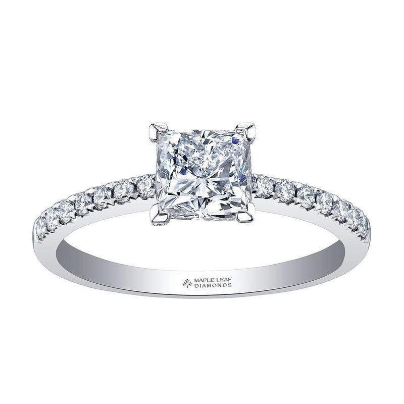 Ashley 14k White Gold Cushion Cut Diamond Engagement Ring