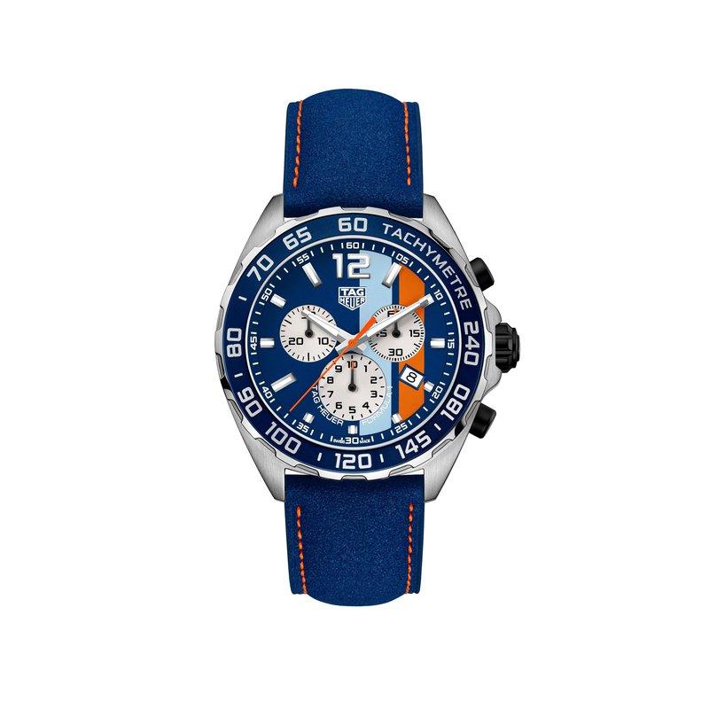 TAG Heuer Formula 1 43mm Gulf quartz chronograph, blue dial & leather strap