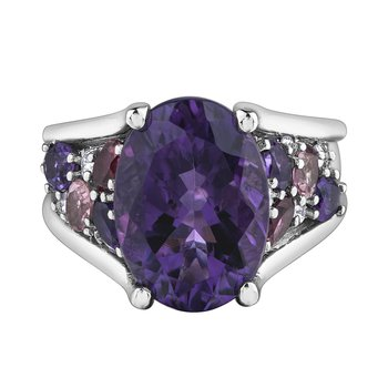 Amethyst, Pink Tourmaline & Diamond Ring
