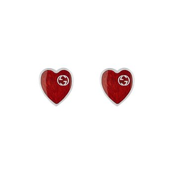Interlocking G Red Heart Earrings